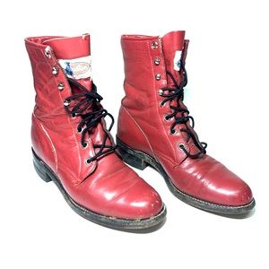 Justin Womens Red Leather LaceUp Roper Boots Sz 5
